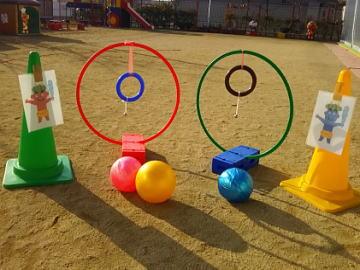 保育園 体操教室 ボールで鬼は外!