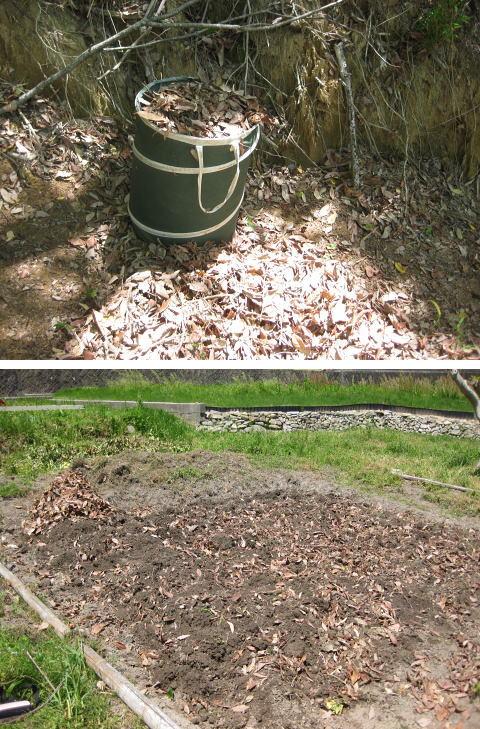 菜園 腐葉土づくり