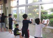 落合空手教室窓拭き掃除